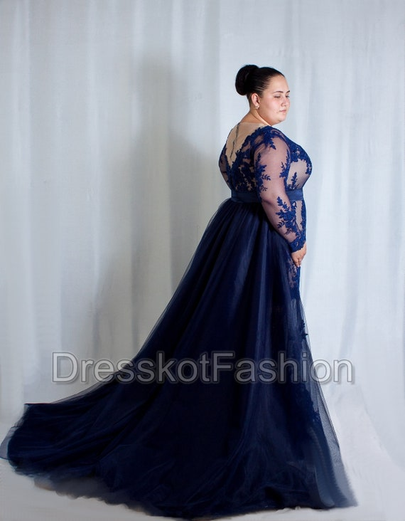 Dark blue wedding dress plus size, Navy blue wedding dress, wedding dress  with sleeves, Wedding gown with detachable train, removable train