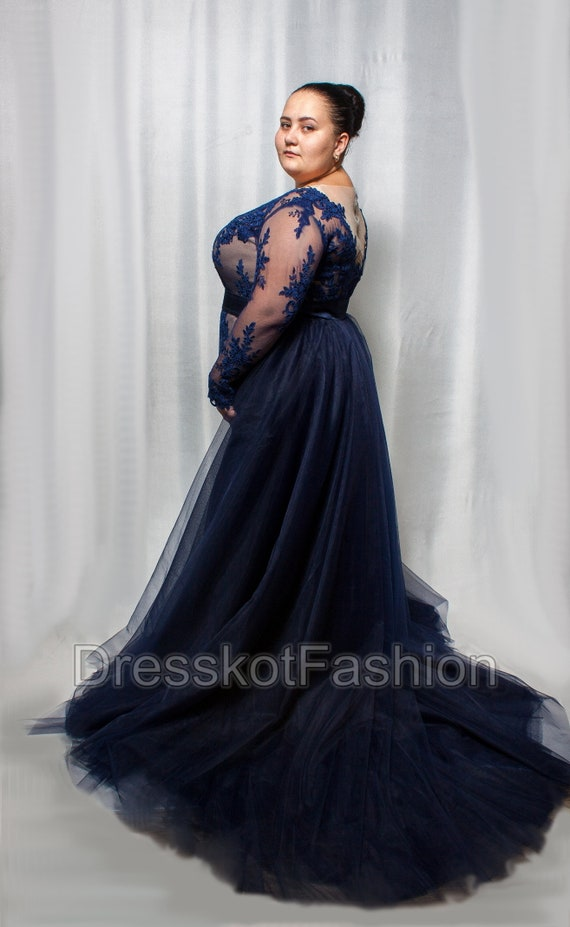 Dark blue wedding dress plus size, Navy blue wedding dress, wedding dress  with sleeves, Wedding gown with detachable train, removable train