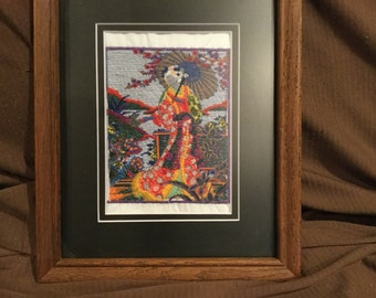 Embroidered oriental girl framed picture
