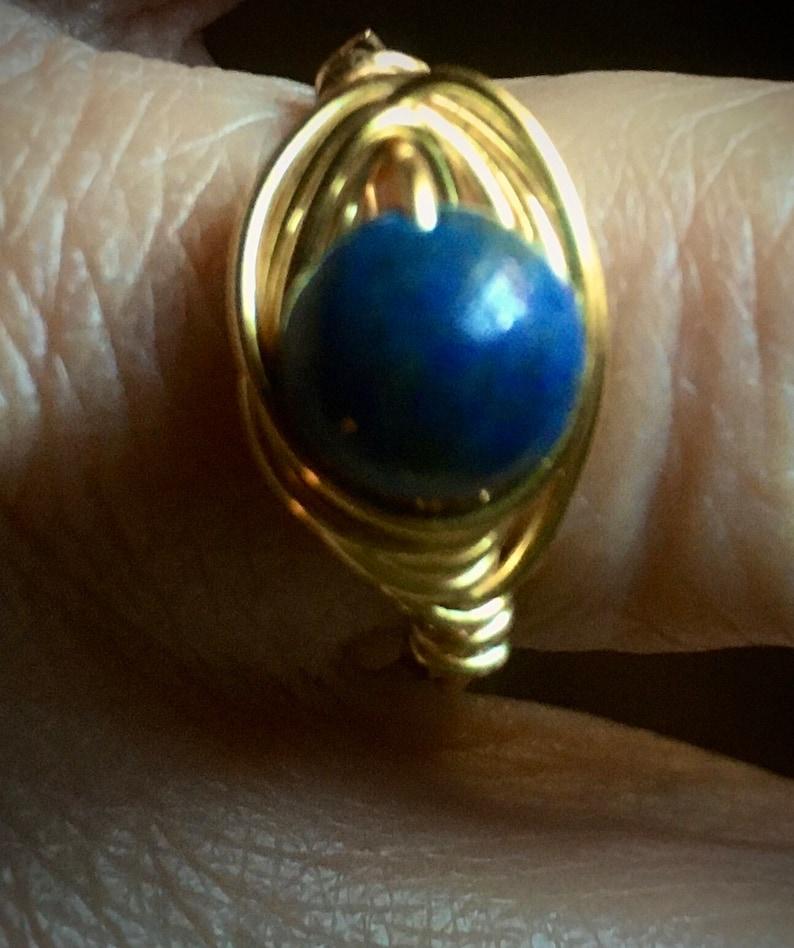 Blue Brass Wrap Ring