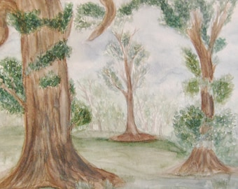Watercolor Trees Painting