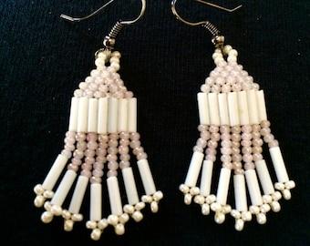 Handmade Light Iridescent Pink & White Beaded Dangle Earrings