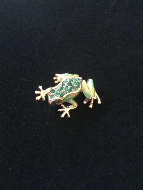 Vintage Frog rhinestone pin Liz Claiborne
