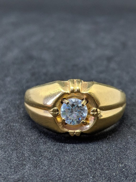 Vintage K Lhge Mens Ring With Large Round Clear Etsy