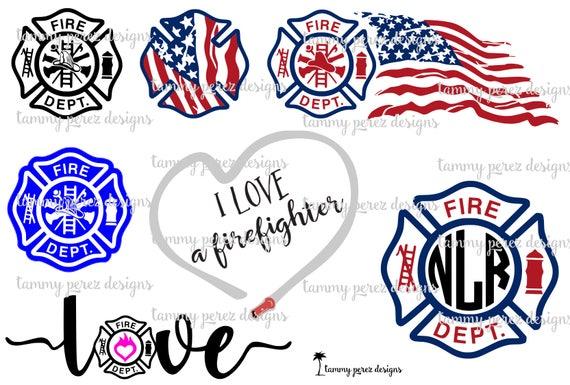 Firefighter Love Monogram Svg Dxf Files Digital Download For Etsy