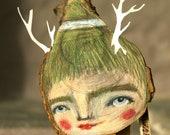 Woods elf,assembled wooden sculpture,faun,man-nature,table sculpture,ooak,hand-painted, table art,spirit of the woods
