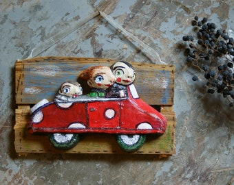 Car Travel-resin figurines-handmade resin-family-red dot toy car-getaway-parents-holiday-freedom-house decoration