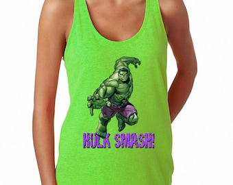 5bc452e4 Ladies' Hulk Smash! French Terry Racerback Tank CUSTOMIZATION AVAILABLE!!