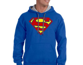 Superman Gildan Adult Heavy Blend 8 oz., 50/50 Contrast Hoodie