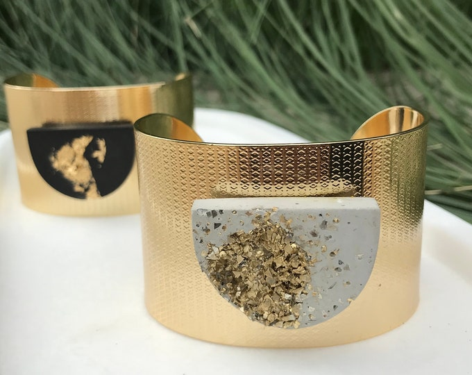 Gold and concrete cuff