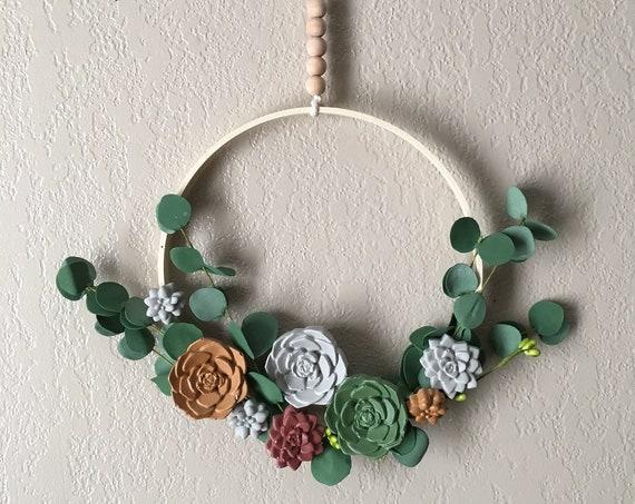Cement succulent wreath, succulent wreath, cement succulent, concrete succulents, succulent wreath, concrete succulent wreath, concrete