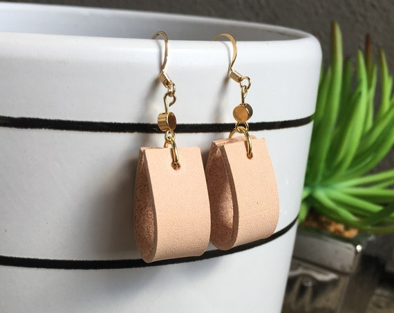 Leather Earrings, Leather Hoop Earrings, Handmade Leather Hoop Earrings, unfinished Leather Earrings, tan leather earrings, leather hoop