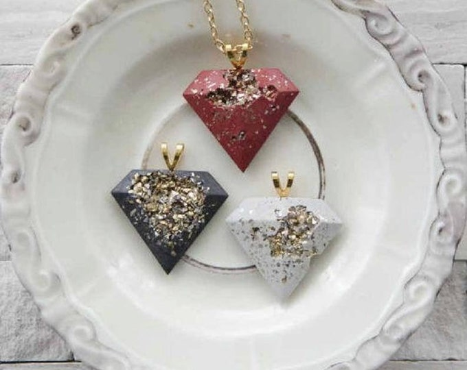 cement pendant, Concrete Necklace, cement necklace, concrete jewelry, cement jewelry, gold and cement, concrete diamond pendant, beton