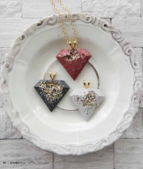 cement pendant, Concrete Necklace, cement necklace, concrete jewelry, cement jewelry, gold and cement, concrete diamond pendant, beton