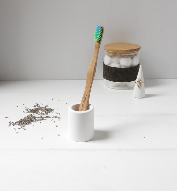 White Concrete Toothbrush Holder
