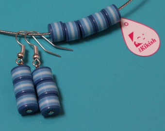 Gemstone earrings and necklace, striped blue stones