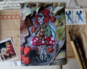Autumn fairy postcard