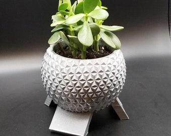 Disney World Epcot Spaceship Earth Inspired Planter - Garden Disney Decor Plant Pot