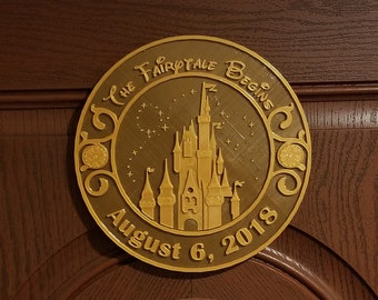 DW Castle and Stars Personalized Wedding Sign - Dual Brown / Gold Color ( Disney Home Decor Prop Inspired Replica )