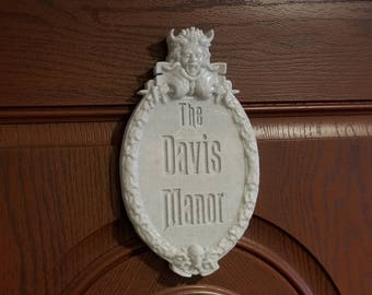 Personalized Haunted Mansion Inspired Prop Sign / Plaque Replica Welcome (Disney Prop Inspired Replica) - Marble Shade