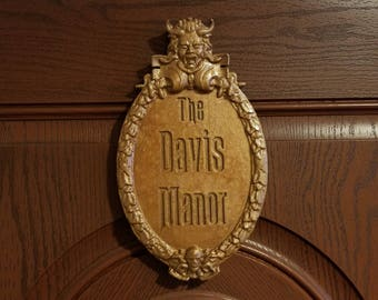 Personalized Haunted Mansion Inspired Prop Sign / Plaque Replica Welcome (Disney Prop Inspired Replica) - Bronze Shade