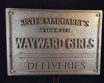 Deadpool Inspired Sister Margaret's School for Wayward Girls Plaque / Sign - Pewter Shade