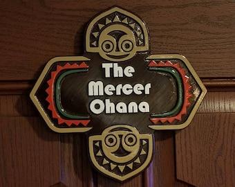 Personalized Polynesian Ohana Themed Family Last Name Sign / Plaque ( Disney Tiki Polynesia Resort / Park Prop Inspired Replica )