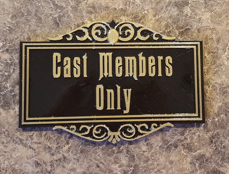 Haunted Mansion Inspired Cast Members Only Prop Sign / Plaque image 0