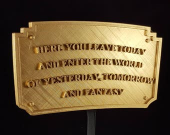 Main Street Entranceway Welcome Plaque DL Inspired Sign - Gold Shade