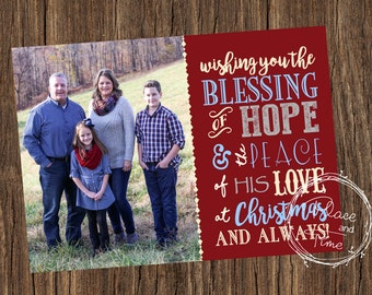 Count your Blessings Photo Christmas Postcard