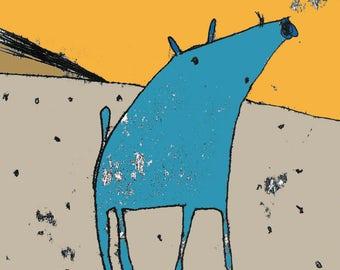 Pig print, cartoon animal, art for kids, dog print, desert art, wild dog, wild hog, cute animal, art for animal lover, wildlife art, nursery