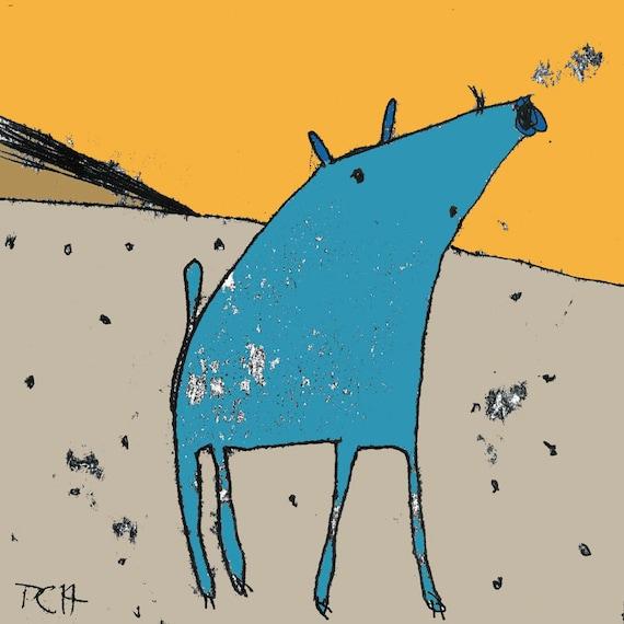 Pig Print Cartoon Animal Art For Kids Dog Print Desert Etsy