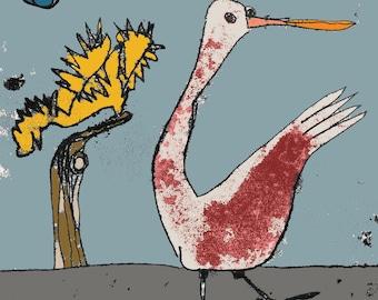 Swan print, bird print, swan art, signet drawing, baby swan, wild bird, nursery decor, cartoon bird, swan lake, gift for bird lover