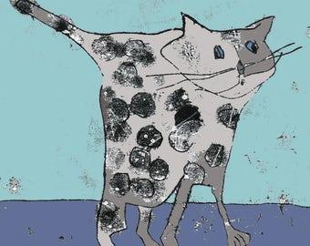 Cat print, gift for cat lover, cat drawing, british blue cat, cat theme, nursery decor, pussy cat, cute cat, cat with spots, cartoon cat