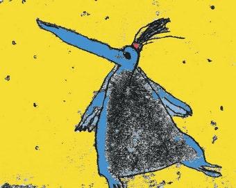Penguin print, penguin illustration, penguin art, king penguin, penguin drawing, penguin cartoon, penguin theme, dancing penguin,nursery art