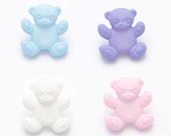 Teddy Shape Buttons Childrens Crafts Baby Colours Packs of 6 or 12 buttons