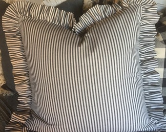 """Euro 26"""" black and white ticking pillow cover"""