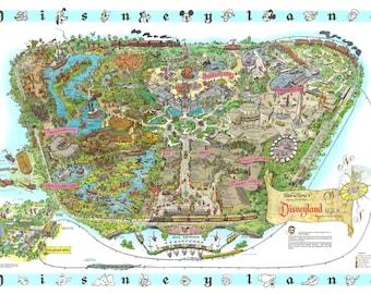 graphic relating to Printable Map of Disneyland called Disneyland map Etsy