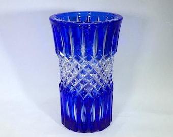885a416339ef Vintage Bohemian Czech Cobalt Blue-to-Clear Art Glass Vase