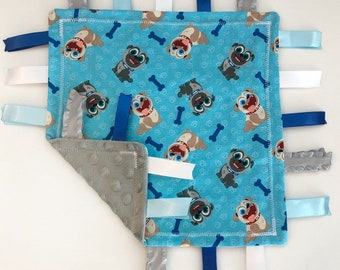 76b4e7958c0a Puppy Dog Pals Minky Baby Tag Blanket // Security Blanket // Ribbon Blanket  // Teething Blanket