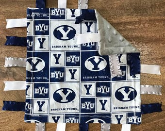 Brigham Young University Minky Baby Tag Blanket // Security Blanket // Ribbon Blanket // Teething Blanket // Ready To Ship
