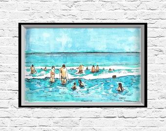 Wall Art Print, Beach Art, Modern Art Print, Nature Prints, Office Wall Art, Nature Art, Watercolor Art Print, Home Decor Art Print