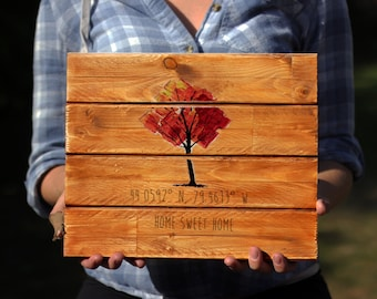 Custom Coordinates, Wooden Signs, Custom Wooden Signs, Wedding Gift, Pallet Sign, Home Sweet Home, Home Decor, Reclaimed Wood, Wall Art