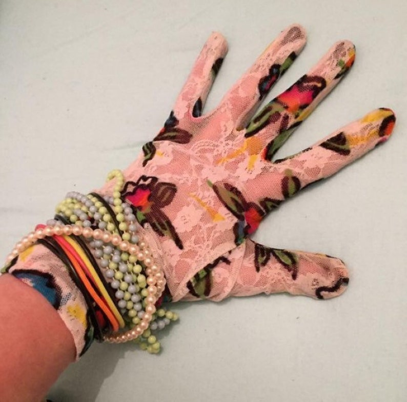 Vintage 1980s Madonna gloves Eighties fancy dress fashion floral lace day-glo