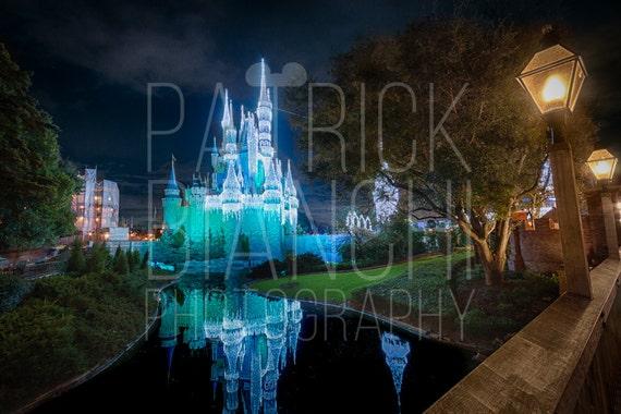 Cinderella Castle Christmas Lights.River Of Dream Lights Frozen Christmas Photo Print Canvas Wrap Magic Kingdom Walt Disney World Cinderella Castle