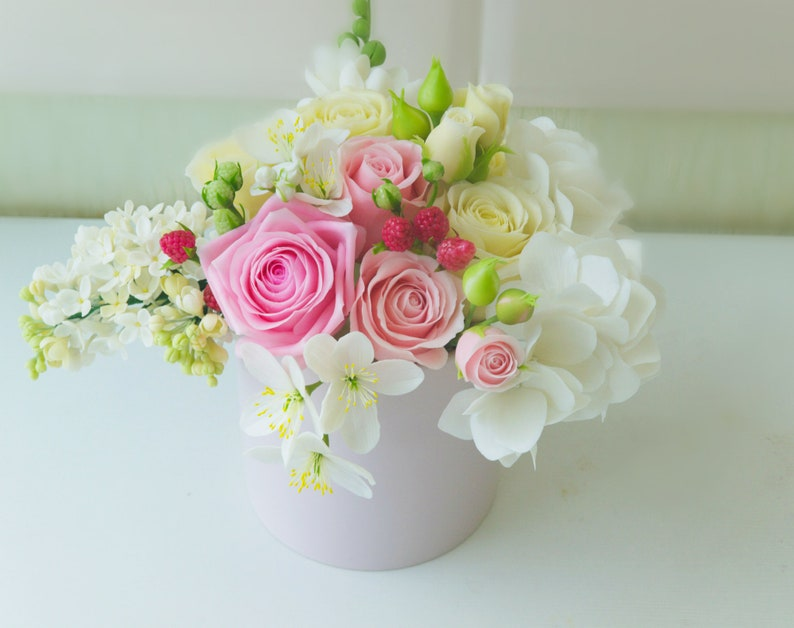 interior decor,gift for mam English Pastel Mint Bouquet.Vintage bouquet in a cup with roses US flower Description  Optional decor home