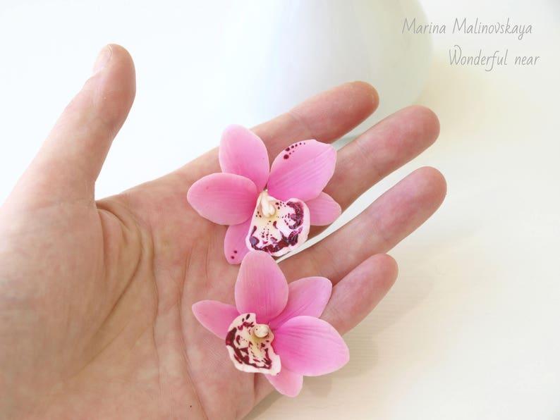 d3054c8a731b Pendientes orquídeas porcelana fría flores joyas con