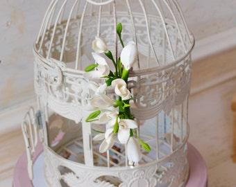 Hair Accessories flower, cold porcelain,hairpin bride, decoration, ,snowdrops barrette, wedding stuff, bride hairclip, snowdrops hair