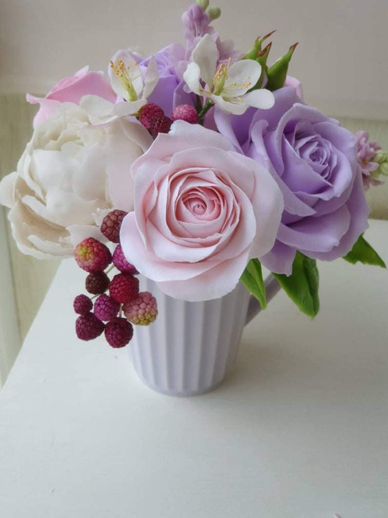 Description  Optional decor home Cup with flowers Vintage bouquet in a cup with roses flower US interior decor,gift for mam English