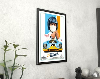"/""Le Mans/"" Steve McQueen /& Elga Andersen Framed Canvas Giclee Vintage Film Poster"